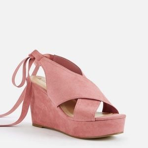 Just Fab Pink Suede Wedges (Size 9.5)
